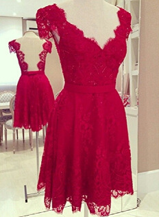 Fashion hot red lace dress