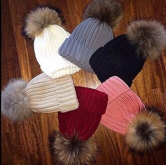 hat hats fur ball fur beanie fur faux fur black hat tan hat white hat winter hat 2015 trends pom pom beanie
