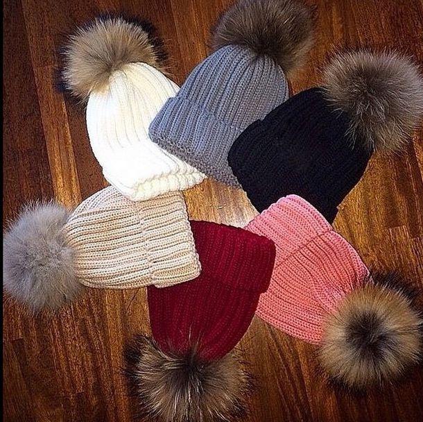 hat hat fur ball fur beanie fur faux fur black hat tan hat white hat winter 71a54e5000c