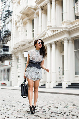 wendy's lookbook blogger top shoes bag belt sunglasses booties mini dress summer outfits black bag