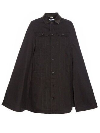 cape denim black top