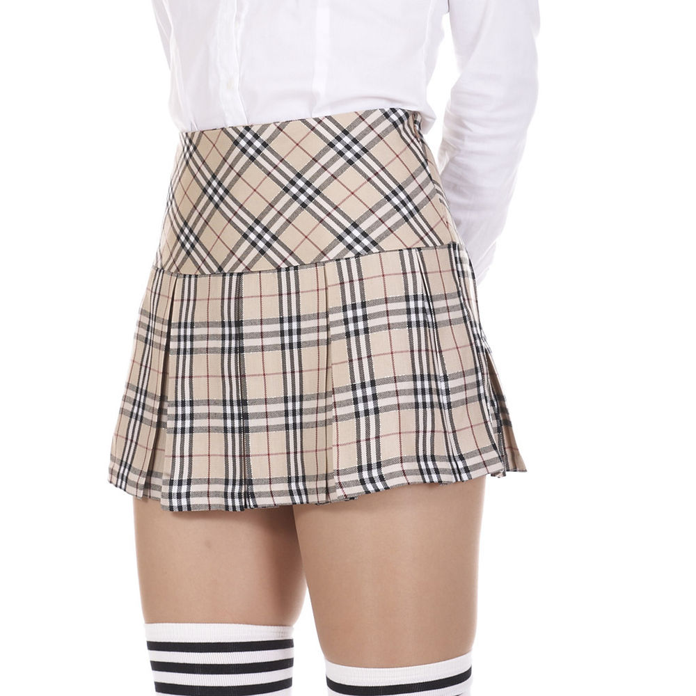Beige tartan check plaid pleated mini skirt with shining golden lines