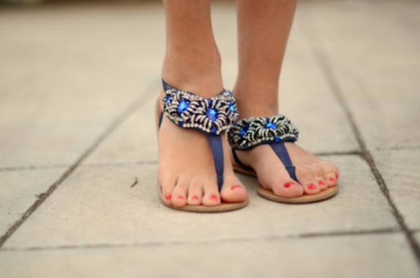 20d7ea6e639f shoes blue cute weheartit girly summer party sandals flip-flops nail polish  red silver pretty