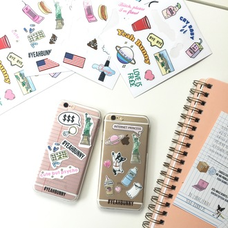 phone cover yeah bunny iphone stickers cute america space dog plants pastel