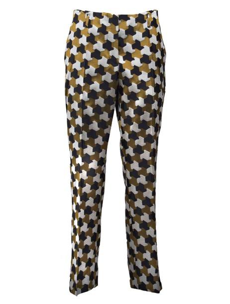 dries van noten jacquard yellow orange pants