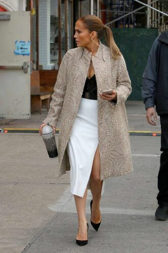 skirt midi skirt top jennifer lopez coat celebrity