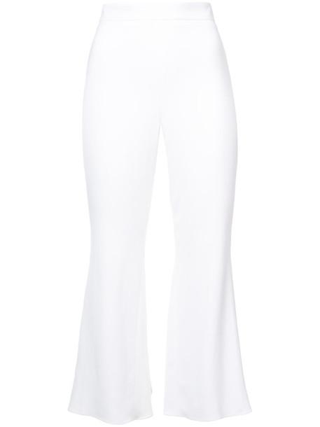 cushnie et ochs high waisted cropped high women spandex white pants