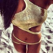swimwear,gold swimwear
