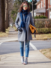bittersweet colours,coat,sweater,jeans,shoes,scarf,bag,sunglasses
