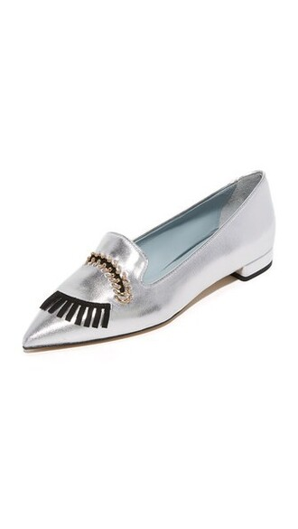 eyes flats silver shoes