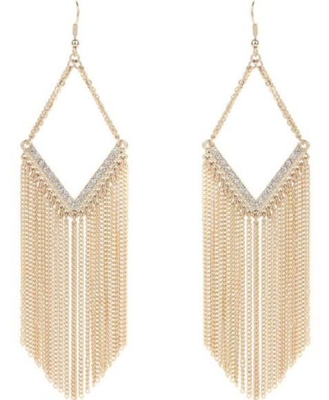 jewels earrings chain diamonds
