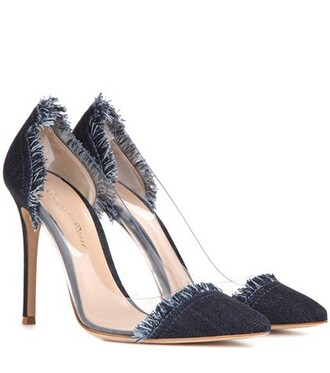 denim transparent pumps blue shoes