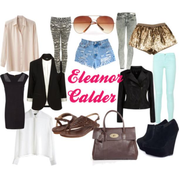 shorts high heels bag brown bag perfecto blouse white blouse pastel jeans blue pants little black dress dress denim shorts gold shorts sunglasses