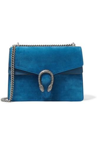 bag shoulder bag suede blue