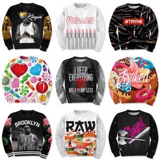 sweater crewneck tupac candy cupcakes sushi lipstick 3d sweatshirts winter sweater jumpsuit
