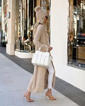 sweater,cardigan,white jeans,pumps,white bag,knit,hat