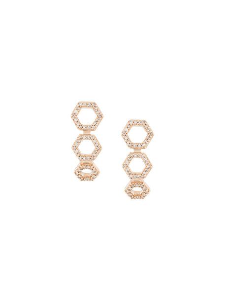 Astley Clarke rose gold rose women triple earrings stud earrings gold grey metallic jewels