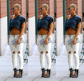 amber rose,white jeans,t-shirt,pants,jeans,white washed denim,ripped jeans,skinny jeans,faded jeans
