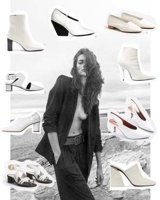 viennawedekind blogger shoes pumps mules sandals ankle boots boots white shoes white boots white heels slingbacks