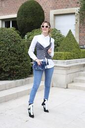 from brussels with love,blogger,shirt,jeans,shoes,bag,blue bag,ankle boots,white shirt,skinny jeans,corset,spring outfits,belt