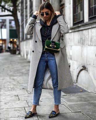 coat grey coat tumblr hoodie black hoodie denim jeans blue jeans shoes slide shoes bag green bag sunglasses