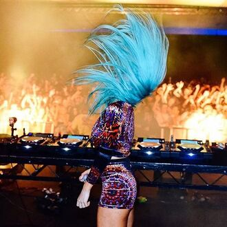 shorts liberated heart psychedelic dj tigerlily festival coachella blue hair disco shorts mandala