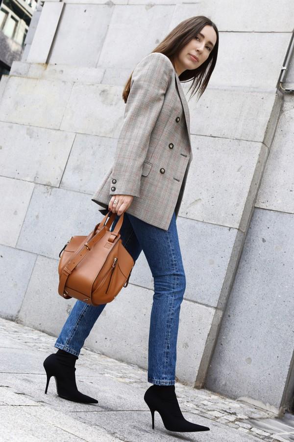 bag tumblr brown bag handbag jacket blazer denim jeans blue jeans skinny jeans boots ankle boots sock boots shoes