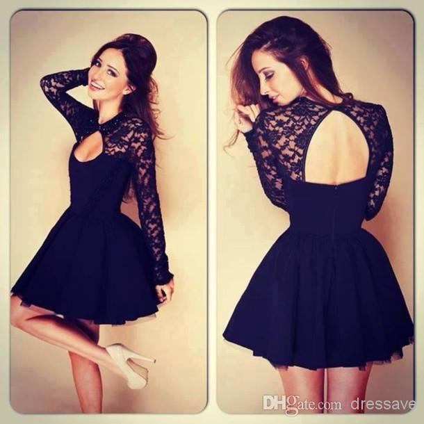 Cheap Evening Dresses - Discount 2014 Long Sleeve a Line Prom Dresses V Neck Lace Organza Backless Short Mini Cocktail Dresses Bo5384 Online with $67.93/Piece | DHgate