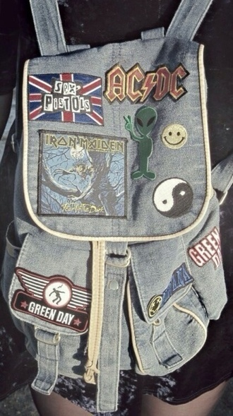 bag denim rock punk ac dc the rolling stones nirvana teenagers deppressed wantd wanted sex pistols guns and roses denim backpack grunge grunge bag peace sign smiley aliens grunge acdc green day vintage bag band logos rucksack denim bag backpack grunge accessory patch back to school iron maiden yin yang alien band tumblr