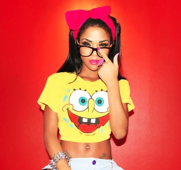 t-shirt shirt crop tops yellow yellow top spongebob jewels pink bows hair bow headband cute spikes yellow t-shirt