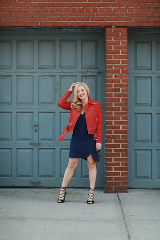 jacket nastygal moto leather silver beltzips cropped fashion style blogger trendy red red leather red jacket basics essentials 36683 asymmetrical
