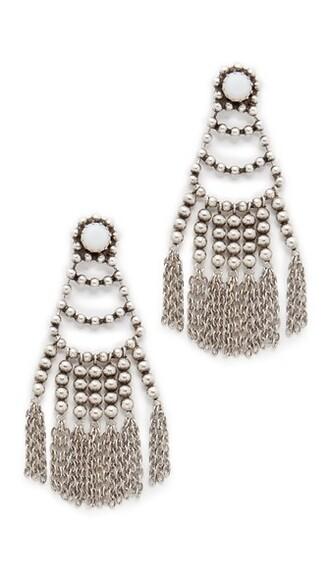 matte earrings silver white jewels