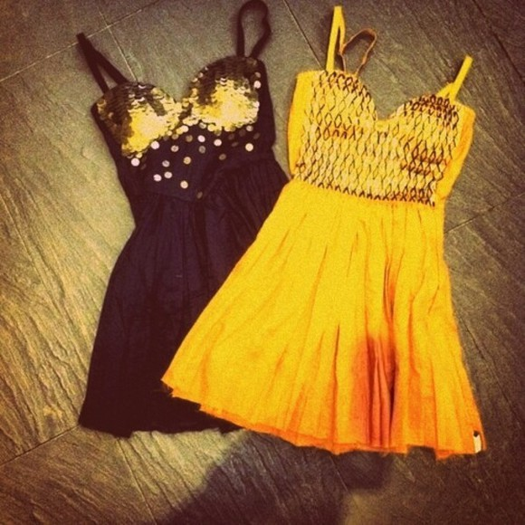 outfit cute dress sequins yellow black lovely skater dress weheartit summer party