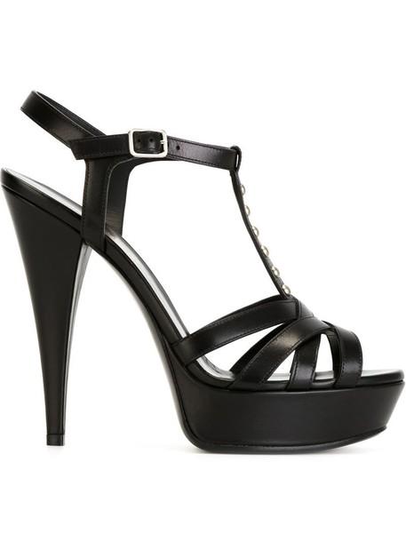 Saint Laurent women classic sandals leather black shoes