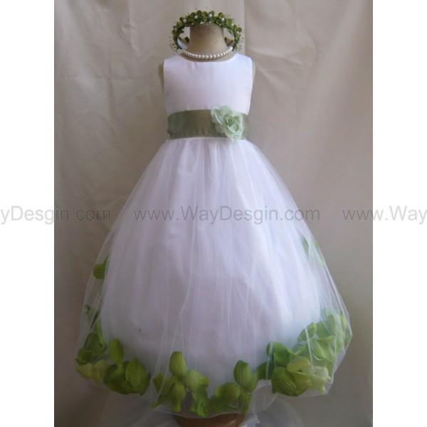 flower girl dress white rose petal dress with green sage dress white dress