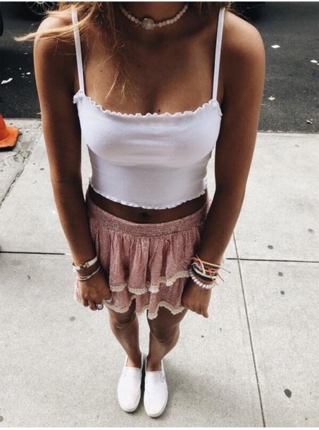 skirt tank top top summer beach vsco pink white jewelry