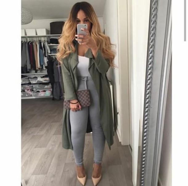 coat jeans bag long coat heels