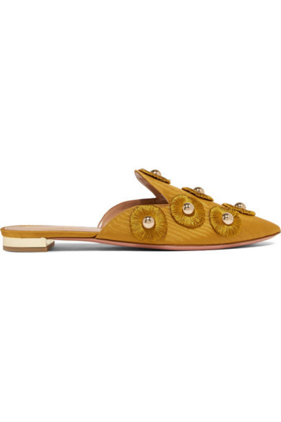 Aquazzura embellished sunflower slippers gold shoes