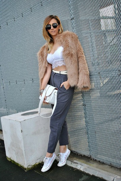 let's talk about fashion ! blogger faux fur jacket grey pants bralette underwear pants bag shoes sunglasses