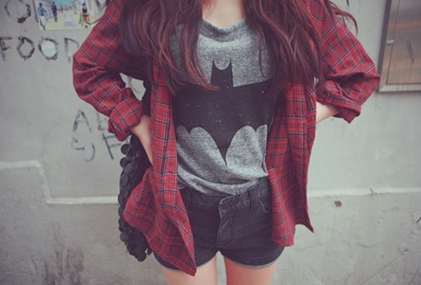 t-shirt shirt top shorts batman grey red checkered black pants jeans flannel jacket jacket flannel batgirl grey shirt burgundy batman shirt denim shorts bag shoes ootd outfit flannel plaid