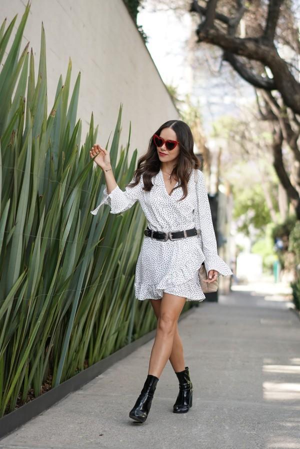 belt dress wrap dress short dress black belt black booties booties sunglasses red sunglasses