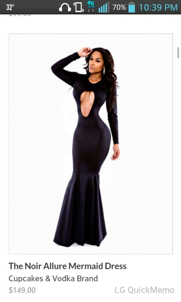 dress black cute dress mermaid prom dress