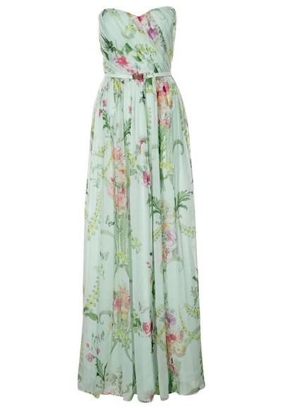 maxi dress strapless bustier dress floral dress mint dress green dress
