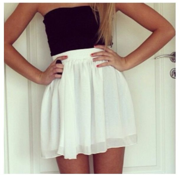 Skirt: white, flowy, black, top, high-waited skirt - Wheretoget