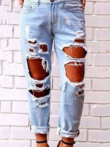 good out x uk store classcic Fashion ripped jeans -SheIn(Sheinside)