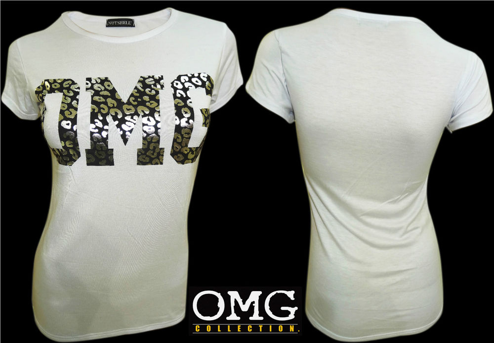 WOMENS NEW LADIES COMIC FOIL OMG ANIMAL PRINT T SHIRT TOP TEE SIZE / 8 10 12 14
