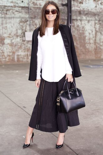 skirt office outfits pleated skirt black skirt maxi skirt shirt white shirt blazer black blazer antigona givenchy bag givenchy pumps black pumps mesh skirt louboutin sunglasses tortoise shell sunglasses