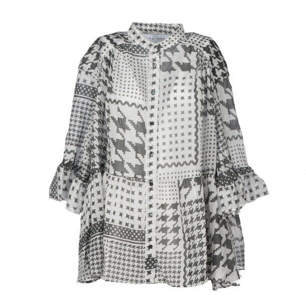 IRO .JEANS shirt print houndstooth white grey top