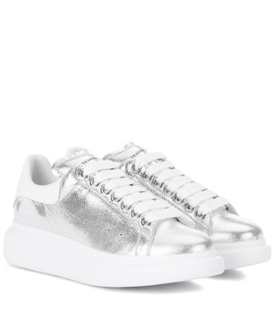 Alexander Mcqueen sneakers platform sneakers leather silver shoes