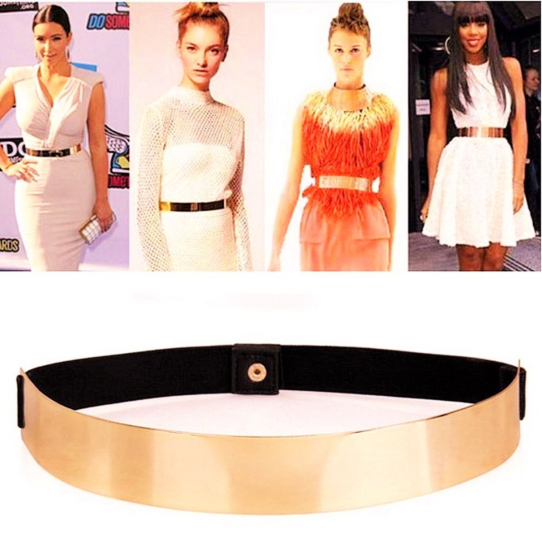 Sleek Gold Mirror Belt By Fling Fashions at Amazon Women's Clothing store: